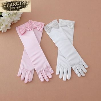 2017 Princess Girls Gloves Satin Long Gloves Children's Day Gifts Party Prom Dance Gloves with Bowknot Children Accessories