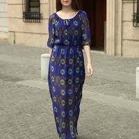 Abstract Printed with Side Split and Front Tie Maxi Dress