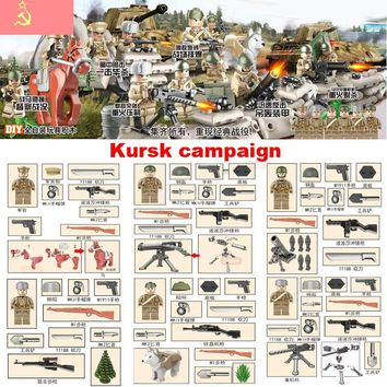 Oenux Newest WW2 The Battle Of Kursk Military Building Block Kursk Campaign Soviet Army Figures With Weapons Model DIY Brick Toy