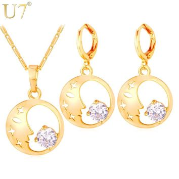 Moon Necklaces  Moon And Star Zirconia Earrings Pendant