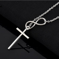 New 2016 Lovely Chic Infinity Cross Long Silver Chain Pendant Fashion Necklaces For Women Jewelry Gift
