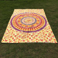 India Mandala Yellow/Red Floral Beach Throw, Bed Manta, Yoga Mat,Tapestry 210*150cm