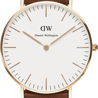 Daniel Wellington St Andrews White Dial SS Leather Quartz Womens Watch 0507DW