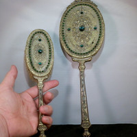 Jeweled 1920's Green Gilded Mirror and Brush Set.