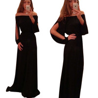 Black Off Shoulder Long Sleeve Cut Out Maxi Dress