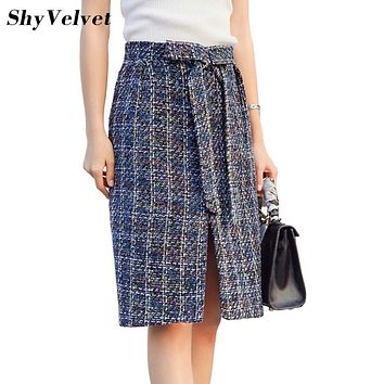 ShyVelvet 2017 Autumn Woolen Skirt Women High Waist Midi Plaid Skirts Womens Tweed Bow Split A Line Skirt