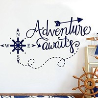 Adventure Awaits Wall Decals. Nautical Nursery Decals for Boy. Kids Vinyl Sticker. NS1111