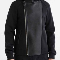 Mackage Hank Leather Blocked Hooded Jacket- Black
