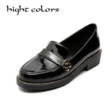Sweet Bow Patent Women Slip-on Casual Flat Oxford Shoes Fashion Girls Casual Flat Shoes Round Toe Loafers Shoes Women Size 34-43
