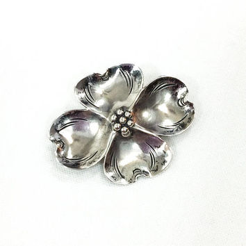 Sterling Flower Brooch, Nye Dogwood Pin, Realistic Floral Hair Accessory, 1940s Retro Vintage Jewelry