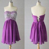 Purple prom dress, cheap cocktail dress, short prom dress, purple cocktail dress, purple bridesmaid dress, evening dresses, RE267