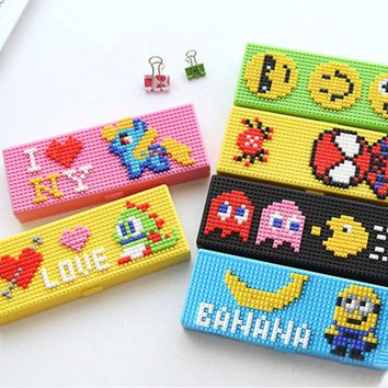 Creative DIY 3D Cartoon Building Blocks Toy Pencil Case Kawaii Design Plastic Pencil Box Emoji Kid Stationery School Supplies