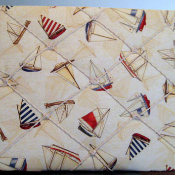 Nautical French Memo Board, Photo Memory Board with Sailing Boats in colors of Tan, Red, Navy Blue