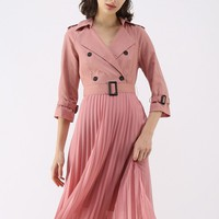 Perfect Balance Double-Breasted Pleated Dress in Pink