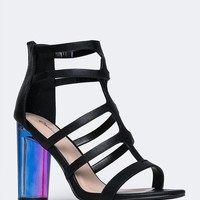 Rainbow Laser Cut High Heel