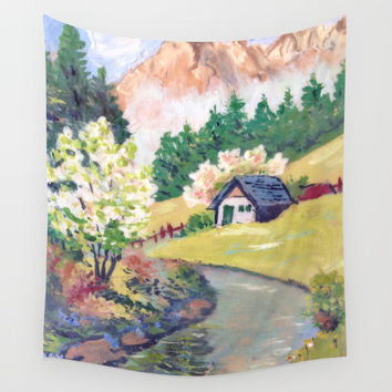 Spring Alpine Wall Tapestry by GittaG74