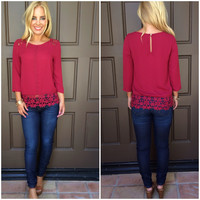 Matilda Crochet Lace Detailed Blouse - BURGUNDY