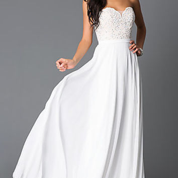 Off White Sweetheart Beaded Corset Long Prom Dress