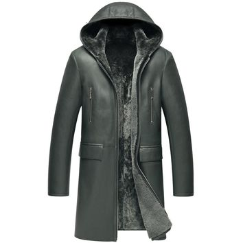 Mens Sheepskin Fur Coat Men's Shearling Jacket  Dark Green Long Coat  Hooded Leather Jacket  Lambskin Jacket Fur Outerwear TJ24