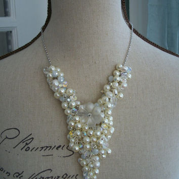 Bridal Cluster Necklace - Vintage Inspired Statement Necklace with Faux Pearls and Swarovski Crystal