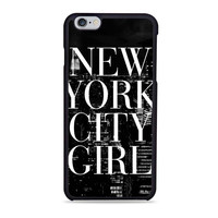 New York City Girl Black & White Skyline Typography Unique  for iPhone case
