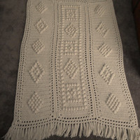 Vintage Fisherman's Knit Hand Made Fringed Afghan - Measures about 40 by 60, Handcrafted, Celtic, Irish, Off White Color