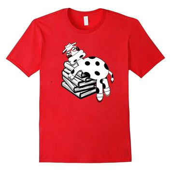 Cow Shirt Book Nerd with Glasses Farm Geeks Funny T-Shirt
