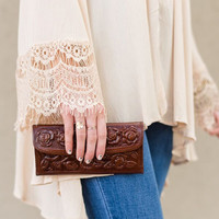 Floral Space Brown Tooled Leather Wallet