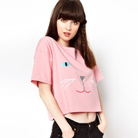 Pink Cat Face Loose Graphic Tee