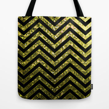 ZigZag Gold Sparkley G190 Tote Bag by MedusArt