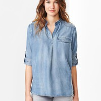 Gap Women 1969 Western Tencel Denim Popover Shirt