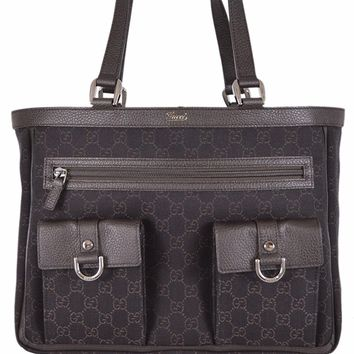 Gucci Women's Brown Denim Abbey Pockets GG Guccissima Tote Handbag