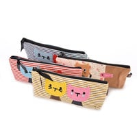 Cat Striped Canvas Pencil Pen Case Coin Purse Makeup Buggy Bag Pouch Wallet
