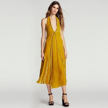 Fashion Simple Solid Color Velvet Strappy Halter Deep V-Neck Backless Sleeveless Maxi Dress