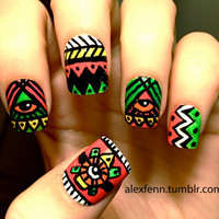 Neon Chevron Nails