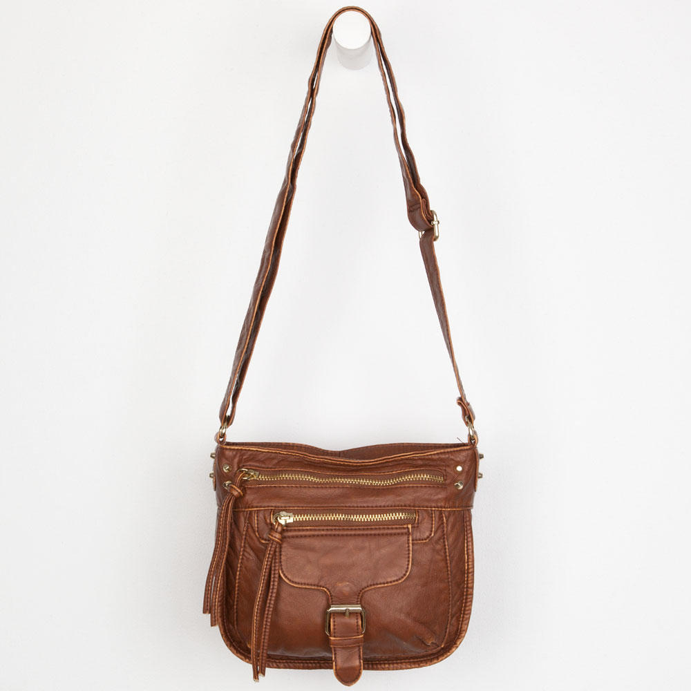 Washed Faux Leather Crossbody Bag 63