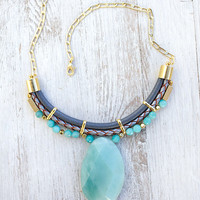 JeansLover Statement Light blue Amazonite Stone Necklace by Pardes