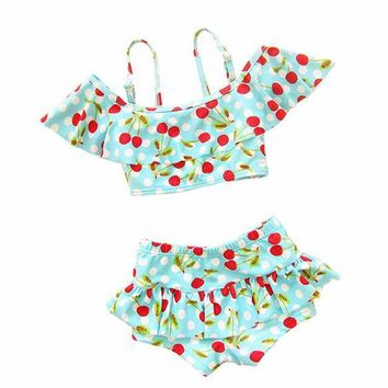Hot Sale Sweet Cherry Printed Girls' Bathing Suit Two Piece Outdoor Comfy Swimming Suit Children Ruffle Design Beach Swimwear