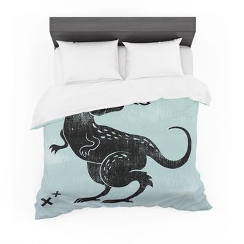 "Anya Volk ""Fire Monster"" Blue Illustration Featherweight Duvet Cover"