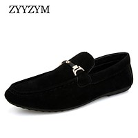 ZYYZYM Men Loafers Moccasins 2019 Spring Summer Men Casual Shoes Slip On Light Flock Youth Men Shoes Breathable Flat Footwear