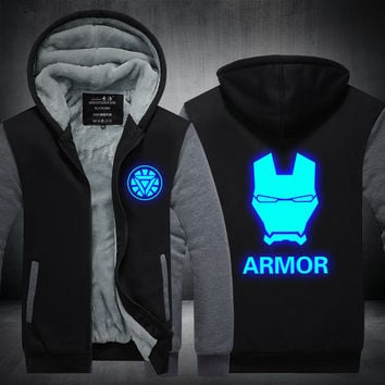 New Winter Jackets and Coats Iron Man hoodie Anime armor Luminous Hooded Thick Zipper Men Sweatshirts Plus size