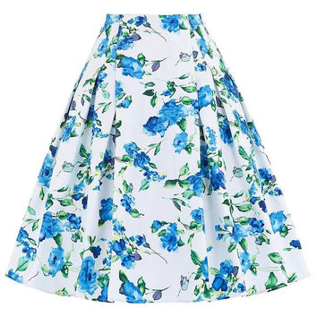 Belle Poque Women Summer Skirts faldas High Waist Rockabilly Skirt Casual Pleated Vintage Floral Print Jupe Femme Skirt Womens
