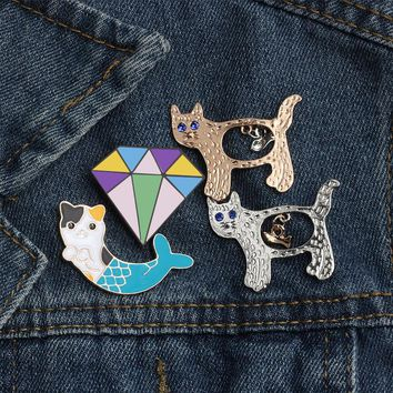 New Creative Cartoon Lovely Fish Cat Polygon Enamel Pin Brooches for Women Metal Pins Lapel Collar Denim Brooch Men Jewelry Gift