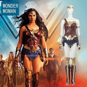 Batman v Superman:Dawn of Justice Wonder Woman Cosplay Costume With Tiara Cuff Full Set For Adult Halloween Costumes For Women
