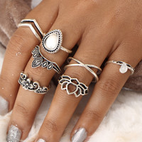 Hollow Flower Design Ring Set 7pcs -SheIn(Sheinside)