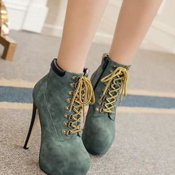 New Green Round Toe Zipper Lace-up Fashion Boots