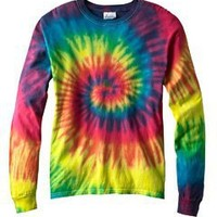 Tie-Dye 5.4 oz., 100% Cotton Long-Sleeve Tie-Dyed T-Shirt - BLUE JERRY - S