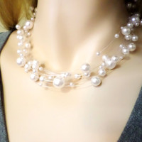 Mermaid, Multi-Strand, Pearl, Floating, Necklace, Floating, Pearl, Multi, Layered, Necklace, Bridesmaid, Necklace, White, Pearl, Mermaid