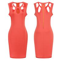 Women 2016 Pencil Dresses Lady Solid Work Sexy Party O-Neck Sleeveless Hollow Out Mini Dress