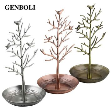 GENBOLI Earring Ring Jewelry Bird Tree Stand Etagere Showcase Jewelry Watch Display Organizer Holder Show Rack Packaging Diy